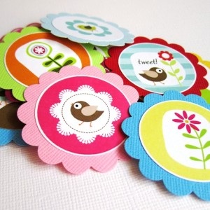 Bird Flower Tags