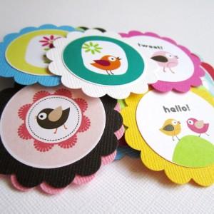 Bird Flower Tags