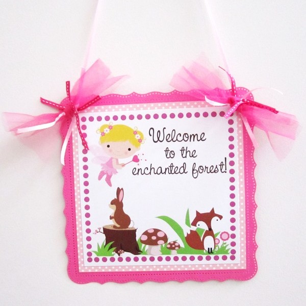 Fairy Woodland Party Door Sign in Pink