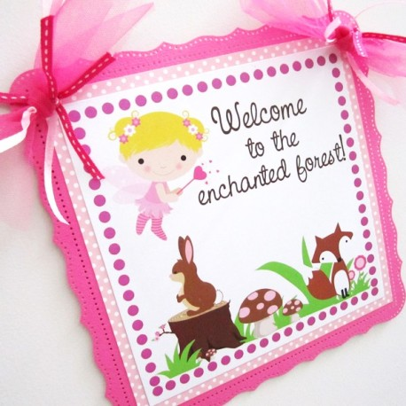 Fairy and Woodland Forest Friends Party Door Sign