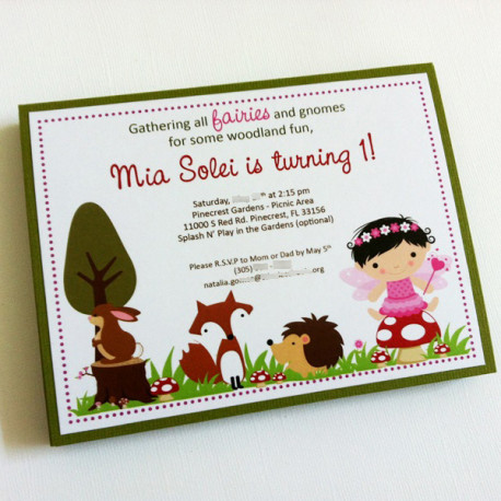 Woodland Fairy Party Invitations