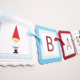 Garden Gnome Baby Shower Banner for a Boy