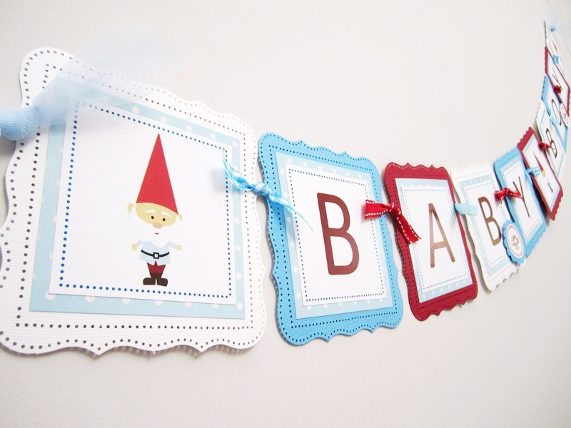 garden gnome baby shower banner for a boy adore by nat