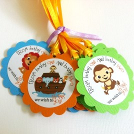 Noah's Ark Twin Baby Shower Tags