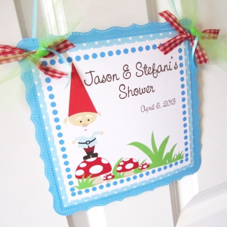 Gnome Welcome Sign for Kids Birthday or Baby Shower Party