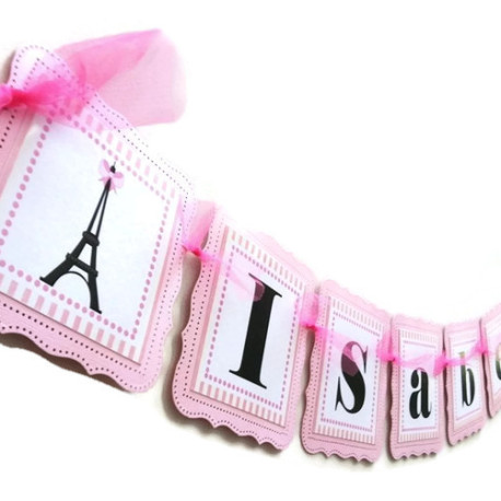Paris Party Banner in Pink