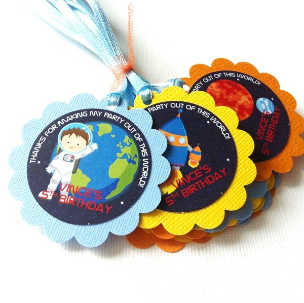 Outer Space Favor Tags, Personalized for Kids' Birthday Party