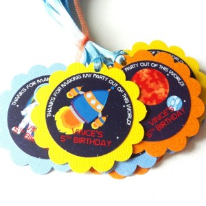 Outer Space Favor Tags, Personalized for Birthday Party