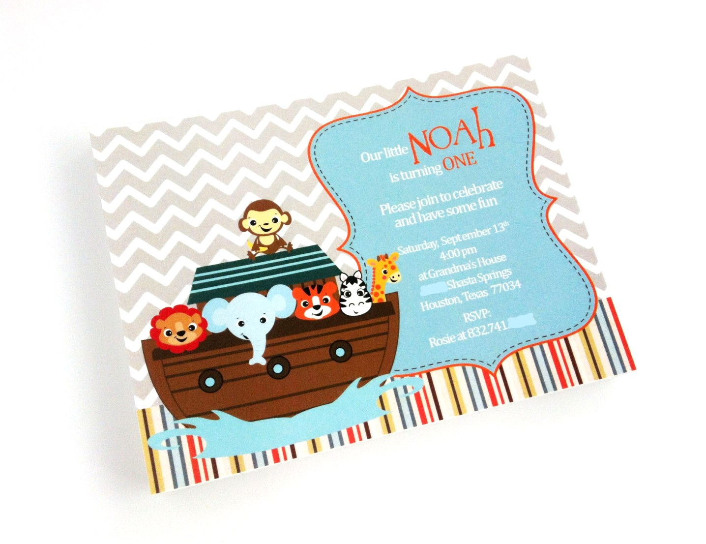 Noah\'s Ark Invitations for Baby Shower and Birthday   Adore By Nat