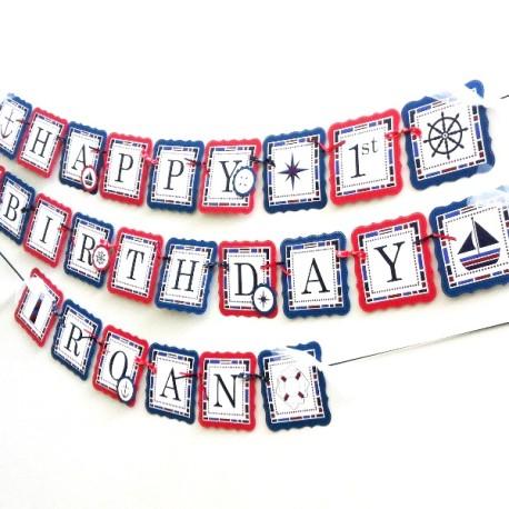 Nautical Themed Birthday Banner c