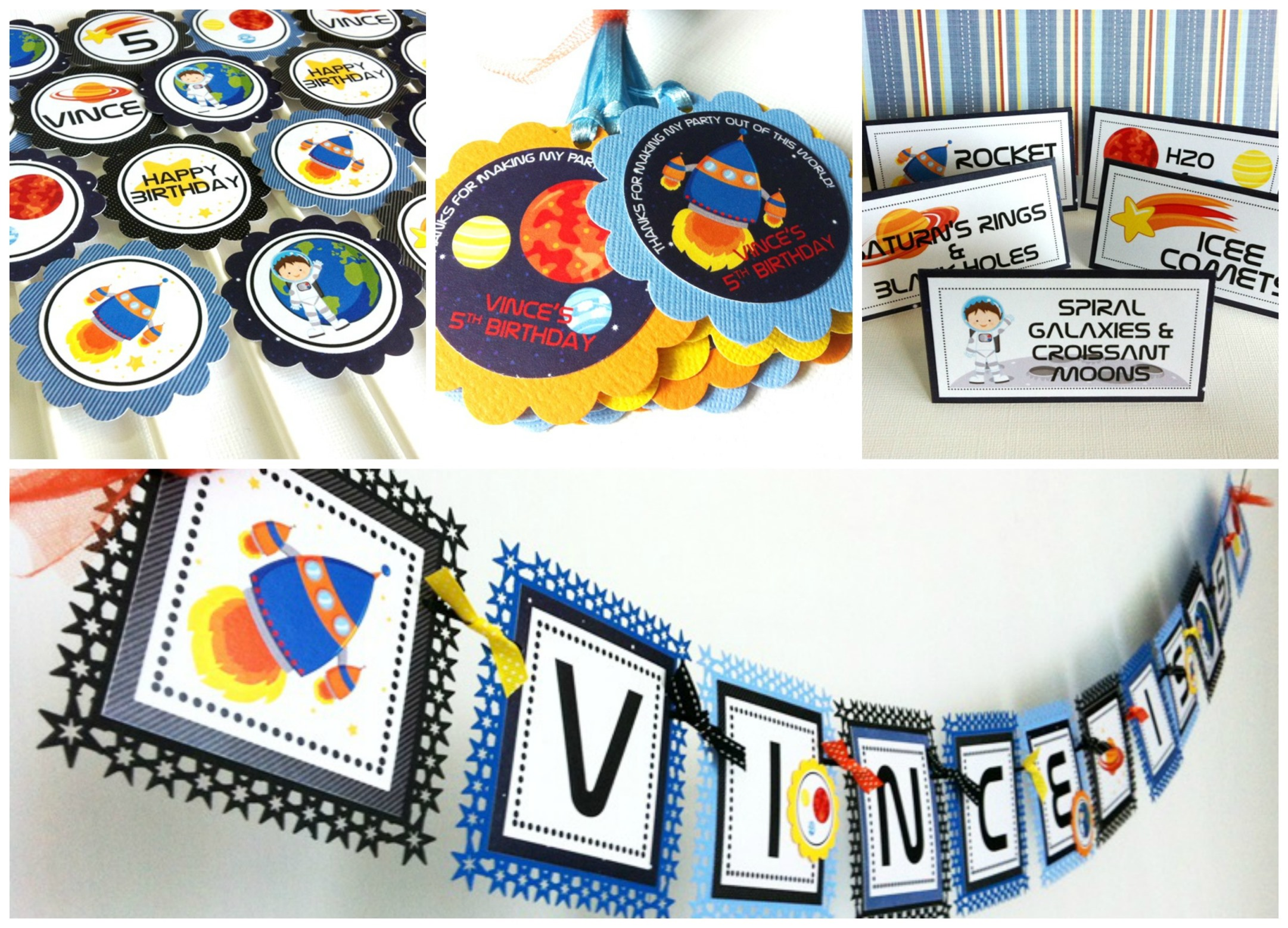 Outer space centerpieces for kids birthday adore by nat for Decorations for outer space party