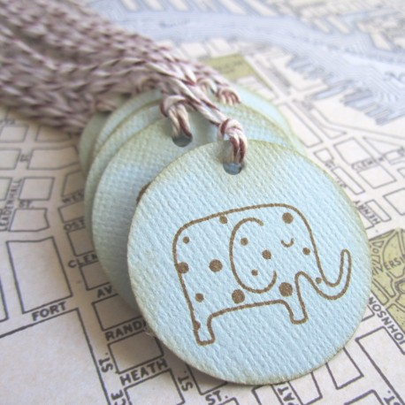 Vintage Elephant Tags in Blue a
