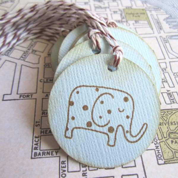 Baby Elephant Gift Favor Tags