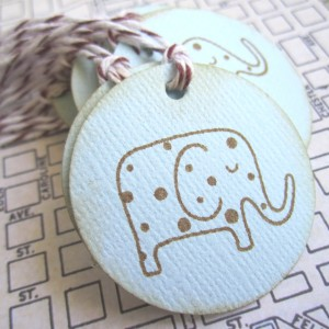 Vintage Inspired Baby Elephant Gift Tags