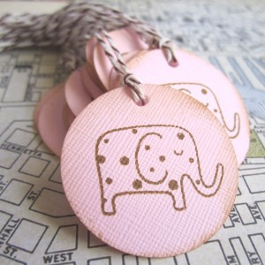 Vintage Elephant Favor Tags in Pink for Birthday or Baby Shower