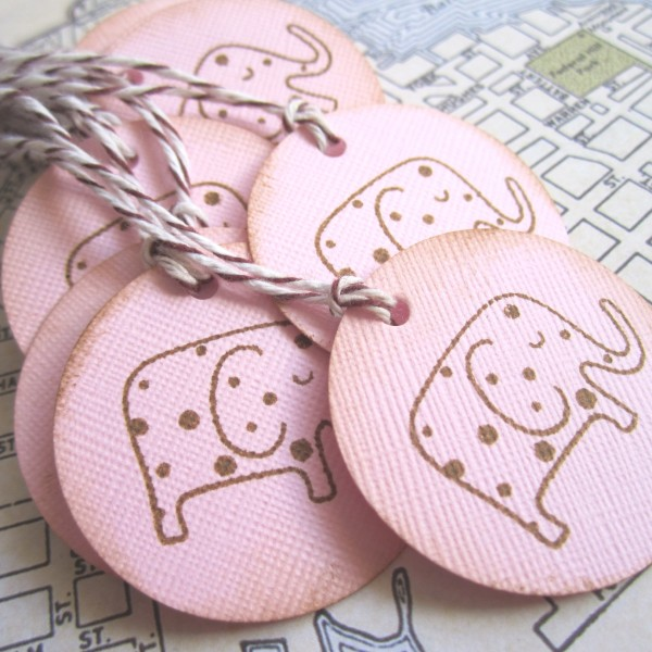 Elephant Favor Tags in Pink for Baby Shower or Birthday Party