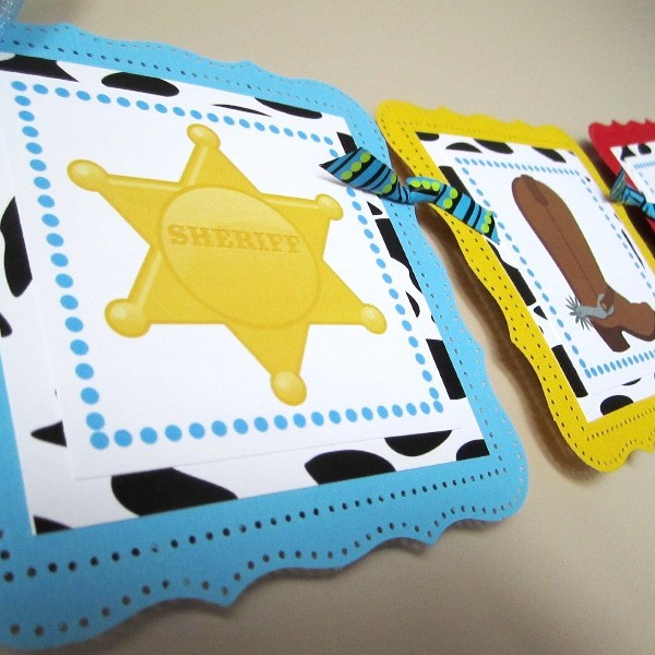 Cute Wild West Birthday Party Banner with Sheriff Badge, Cowboy Boot, Lasso, Horse and Cactus