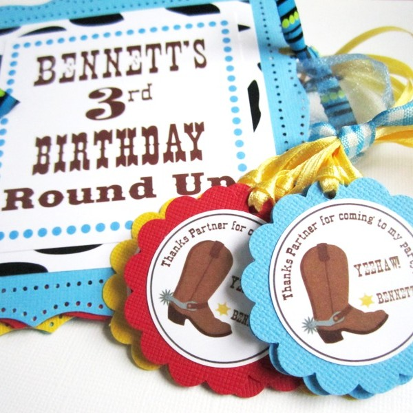 Wild West Cowboy Party Banner and Favor Tags for Kids Birthday or Baby Shower