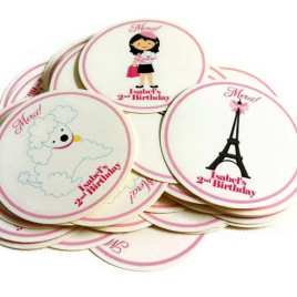 Paris Inspired Party Stickers, Personalized
