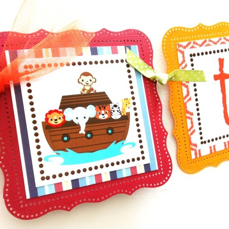 Two by Two Noah's Ark Twin Party Banner