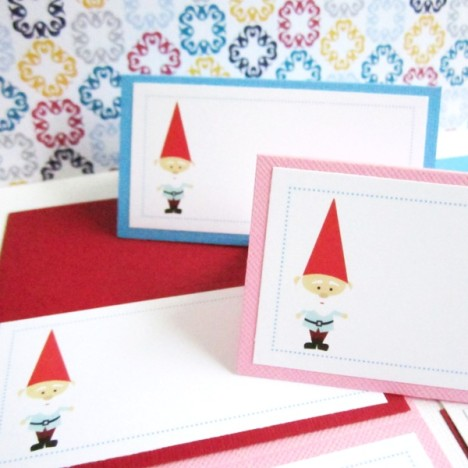 Gnome Party Tent Cards