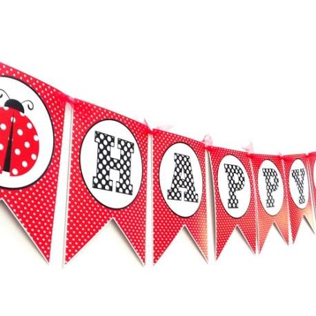 Ladybug Birthday Banner b