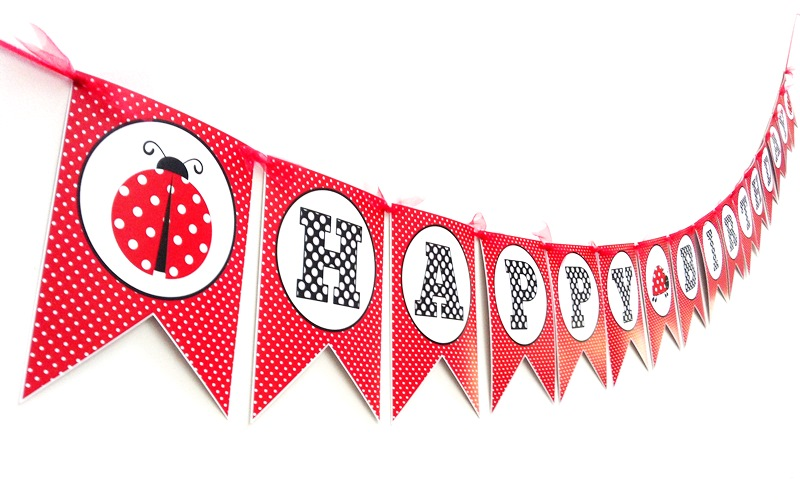 ladybug birthday banner party decoration adore by nat