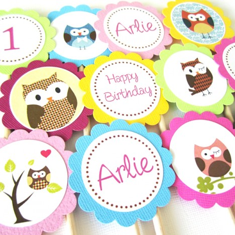 Owl Cupcake Toppers, Personalized