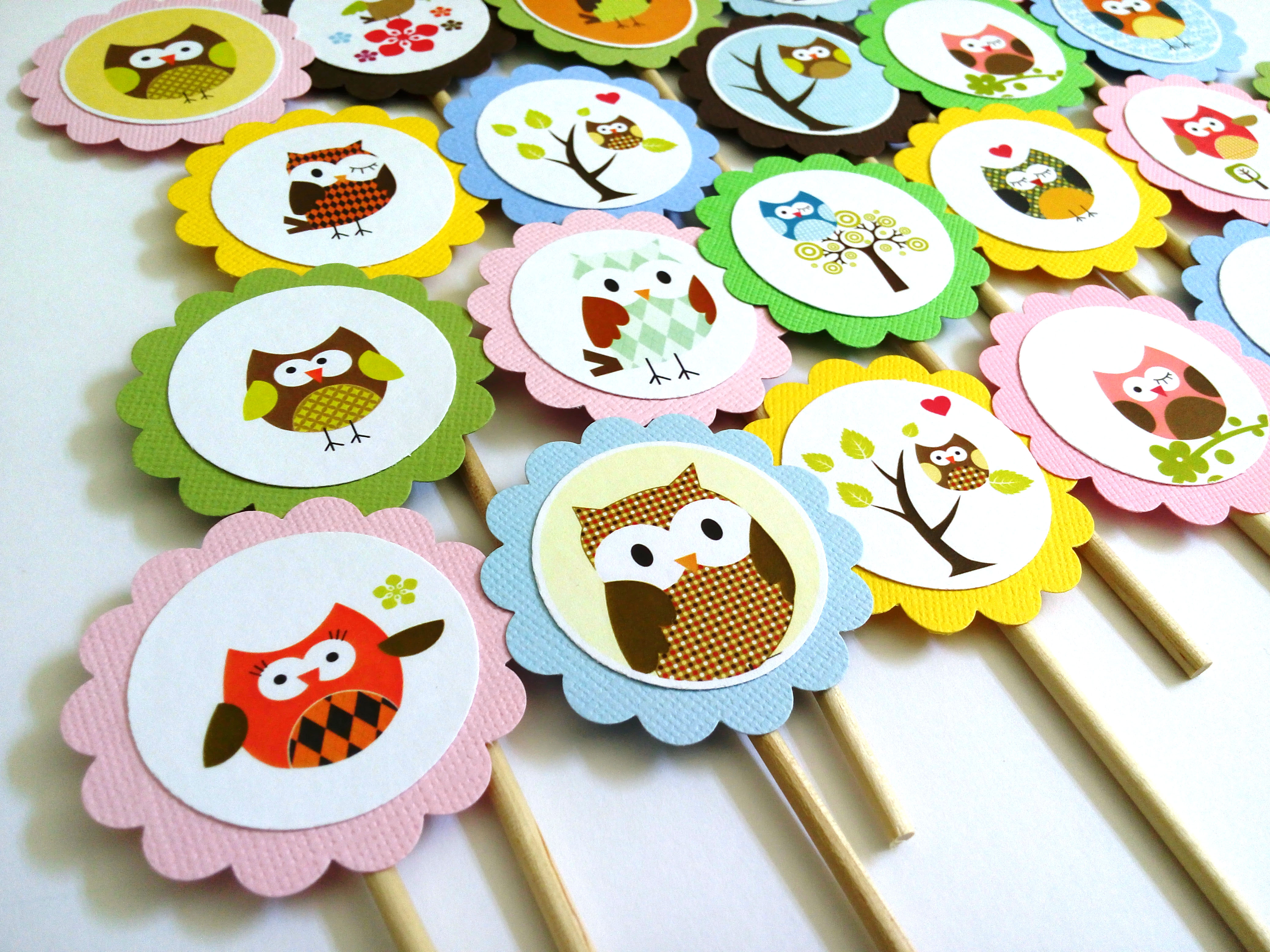 Owl Cupcake Toppers for Birthday and Baby Shower