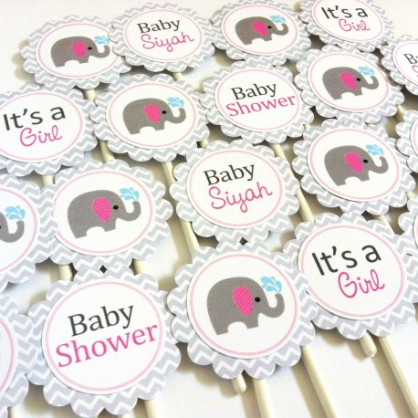 Baby Girl Elephant Cupcake Toppers a