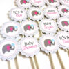 Baby Girl Pink Elephant Cupcake Toppers