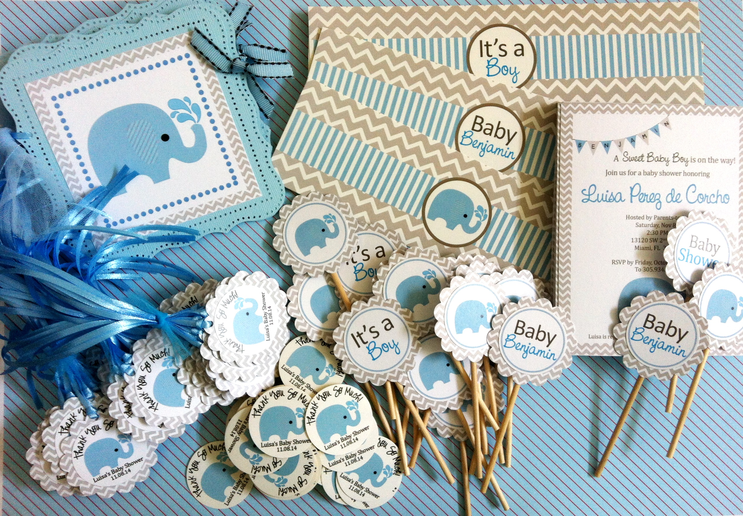 Personalized Blue Elephant Stickers for Baby Shower or Birthday