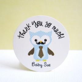 Mustache Owl Stickers