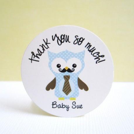Mustache Owl Stickers b