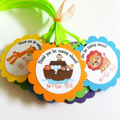 Noah's Ark Thank You Favor Tags c