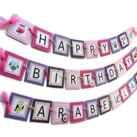Owl Birthday Banner