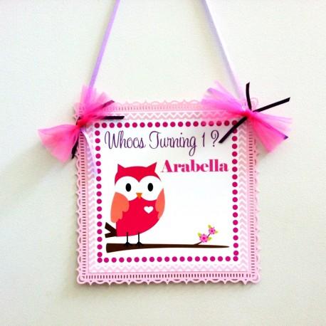 Owl Door Sign in Pink b