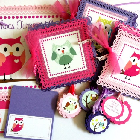 Owl Party Decorations in Pink and Purple