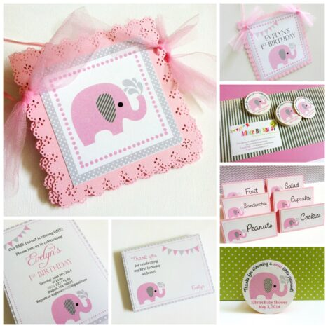 Pink Elephant Grey Ear Party Decorations