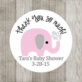 Pink Elephant Stickers for Baby Shower or Birthday