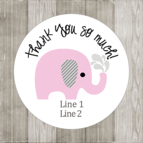 Pink Elephant Stickers for Baby Shower