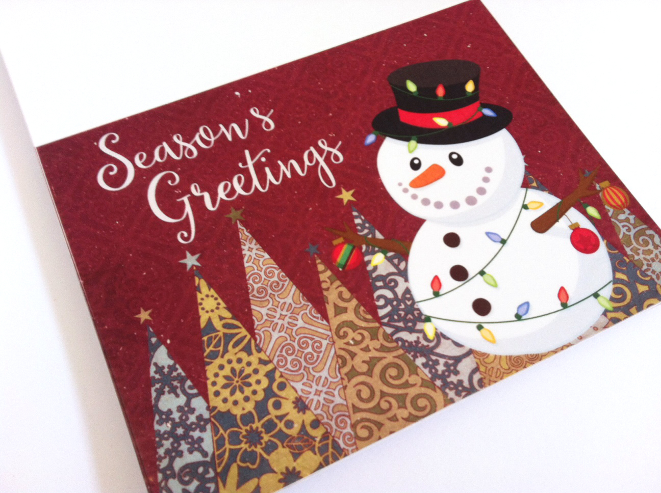 Snowman christmas cards with season s greetings phrase