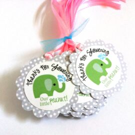 Thanks for Showering our little peanut Green Elephant Favor Tags