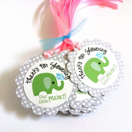 Thanks for Showering OUR little peanut  Elephant Favor Tags in Green a