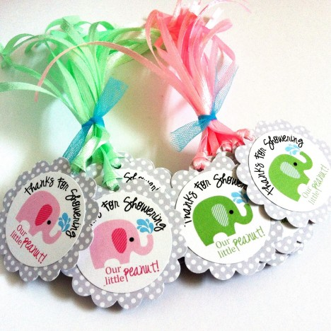 Thanks for Showering OUR little peanut Elephant Favor Tags in Green and Pink