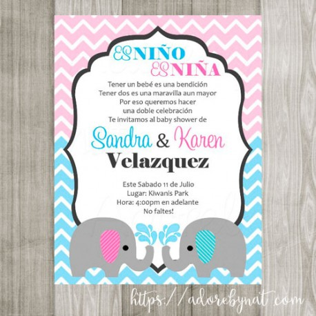 Twin Baby Elephant Invitation