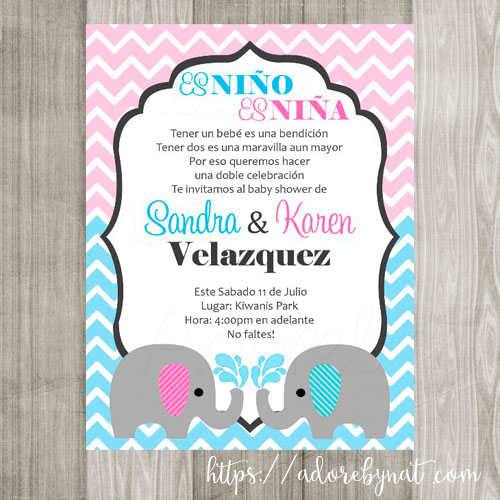 Twin baby elephant invitations adore by nat twin baby elephant invitations filmwisefo