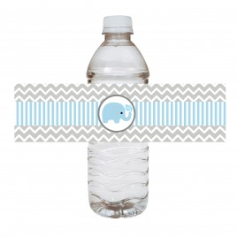 Blue Elephant Water Bottle Labels