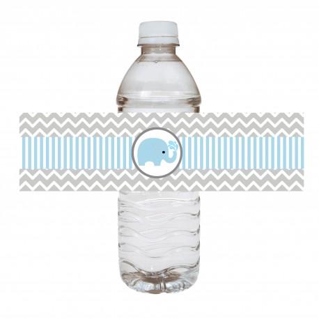 Blue Elephant Water Bottle Labels a
