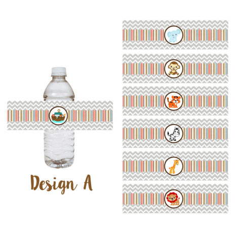 Noah's Ark Party Water Bottle Labels Design A